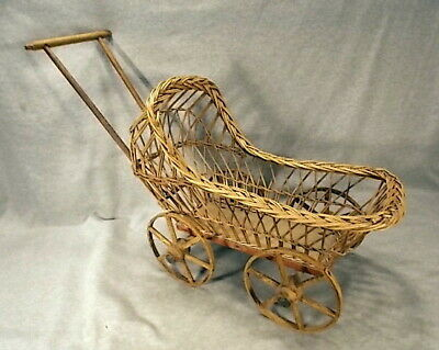 Antique Victorian Early Primitive Wood Paintd Spoke Wheel Wicker Doll Baby Buggy