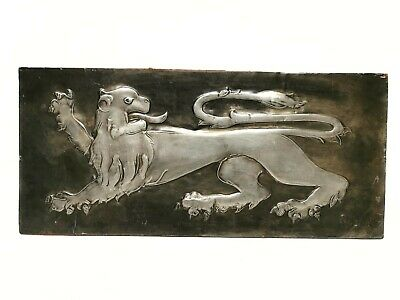 Unusual Vintage cast Sheet Metal plaque on board of a gothic lion Signed P Bird