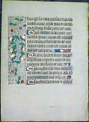 Illuminated medieval Book of H.lf.8 gold initials 2 borders,line fillers,c.1475
