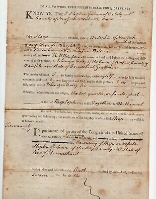 1799 New York City Document, Sale of Partial Ownership of Ship