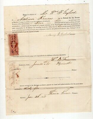 1865 Retreat for the Insane at Hartford, Agreement to Pay $5.00 per Week