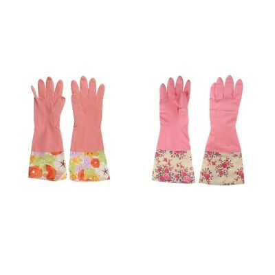 2Pairs Dishwashing Latex Cleaning Gloves Long Gloves Laundry Gloves Non-Slip