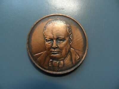 Sir Winston Churchill 80Th Birthday Bronze Commemorative Medallion