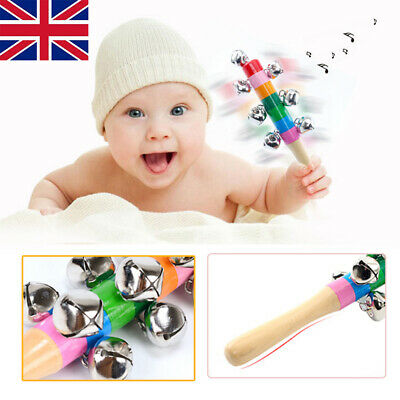 Bell Stick Toys Baby Kids Rainbow Shaker Rattle Jingle Wooden Handle Toys