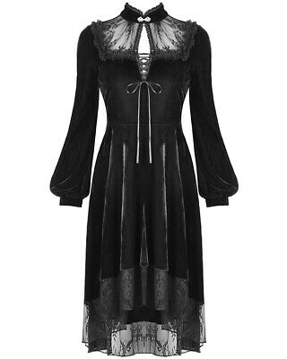 Dark In Love Victorian Gothic Dress Black Velvet Lace Steampunk Funeral Vintage