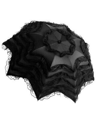 Dark In Love Gothic Lace Parasol Umbrella Black VTG Victorian Steampunk Lolita