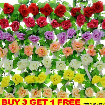 2X 8Ft Artificial Rose Garland Flower Silk Vine Ivy Wedding Garden String Decor