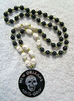 """New Orleans Gris-Gris"" White Skulls Black/Gold Mg Bead Occult Voodoo (B716)"