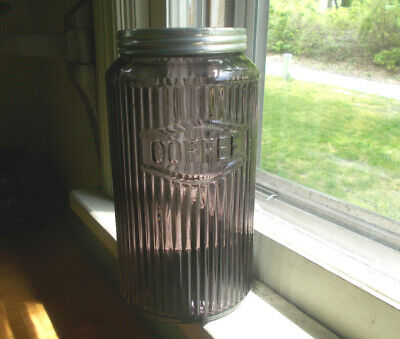 1912 Amethyst Glass Ribbed Coffee Jar & Original Lid From Hoosier Cabinet Set