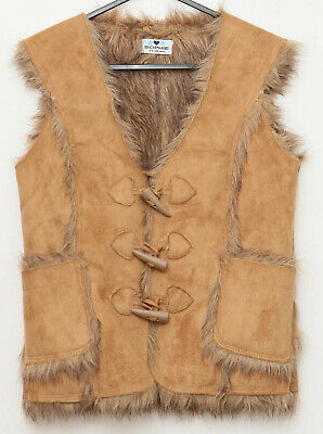 Sophie 11-12 yrs old sleeveless suede style gilet faux fur lined brown worn