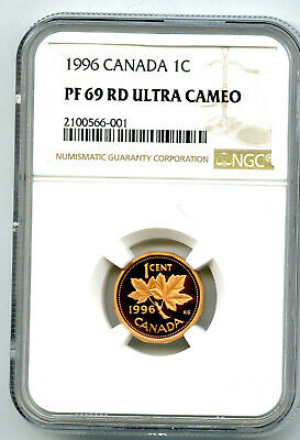 1996 Canada Cent Ngc Pf69 Rd Proof Penny Extremely Rare !!