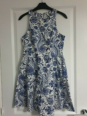 New Look Navy China Blue White Brush Flower Textured Cotton Strappy Skater Dress