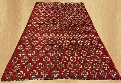 Authentic Hand Knotted Afghan Balouch Wool Area Rug 6 x 3 Ft (657 HM)