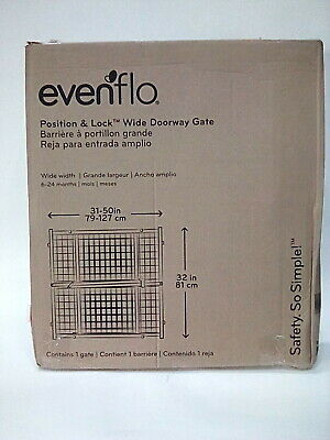 """Evenflo Position and Lock Tall Pressure Mount Wood Gate expands from 31- 50"""""""