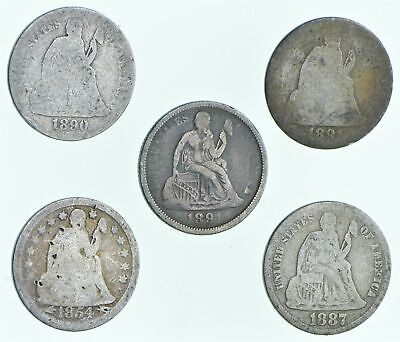 1890 1891 1891 1854 1887 Lot 5 Seated Liberty Dimes Collection *293