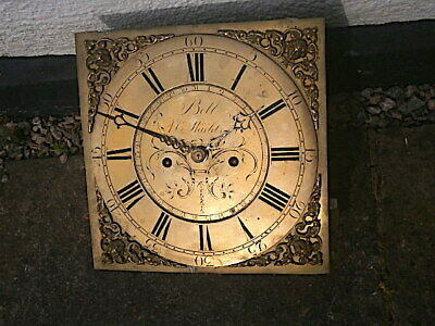 12x12 c1760 8 day LONGCASE CLOCK DIAL+MOVEMENT J. BELL, SOUTH SHIELDS