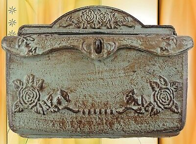 Wall Letter Box Cast Iron Coloured L.32x26cm Green Antique Vintage Decoration