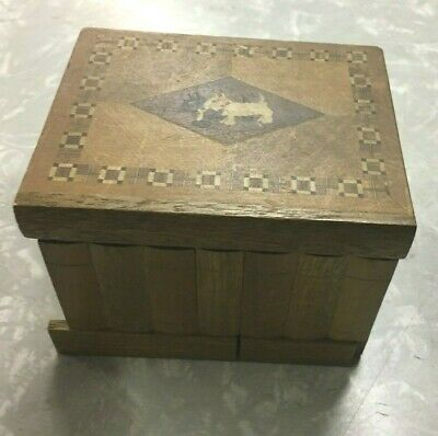 Vintage WOODEN BOX Trinket, Card, Jewelry Box with Scottie Dogs