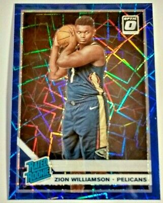 Zion Williamson Rookie Panini Donruss Optic Prizm Blue Velocity Rainbow 2019-20