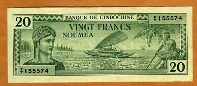 New Caledonia, 20 Francs, P-49, ND (1944) WWII, VF > French Colonial