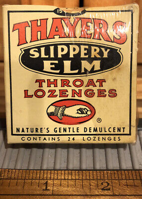 Thayers Slippery Elm Throat Lozenges Medicine Box & Contents