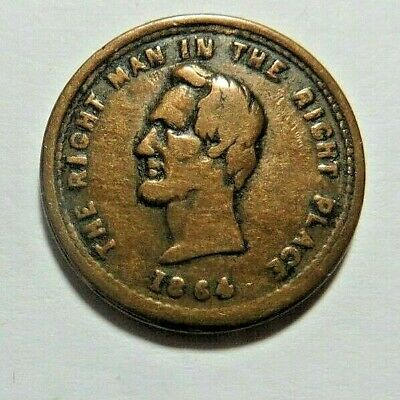 1864 - LINCOLN PATRIOTIC CWT - 126/295a - ALSO POLITICAL CAMPAIGN MEDAL - VF+