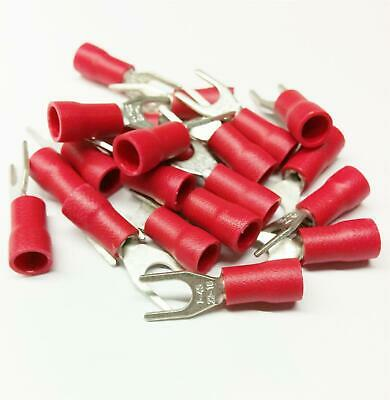 50x Red Fork Crimp Terminal Insulated Connector Electrical Cable Audio Wiring