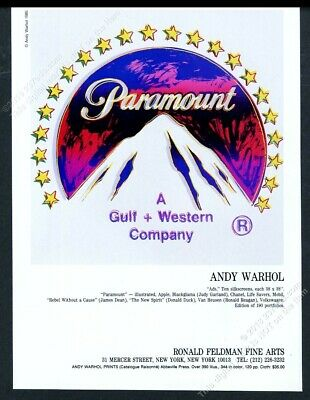 1986 Andy Warhol Paramount Pictures logo art NYC gallery vintage print ad