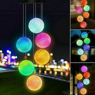 Hanging Wind Chimes Colour Changing Solar Powered LED Ball Lights Garden Outdoor