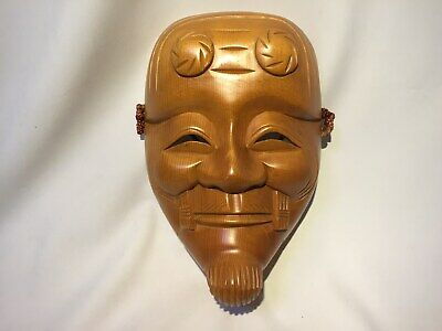 Japanese vintage Wooden Noh mask OKINA ornament Wall hanging Noh Kagura