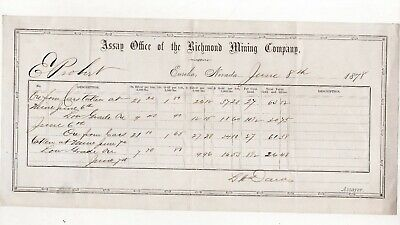 1878 Assay Office of Richmond Mining Co Document, Eureka, Nevada