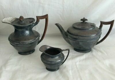 Silver Plated (EPBM) 3 Piece Tea Set. QUALITY MADE SET. Hammered finish (T26)