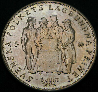 SWEDEN 5 Kronor 1959TS - Silver - Constitution of Sweden - XF- 1168 ¤
