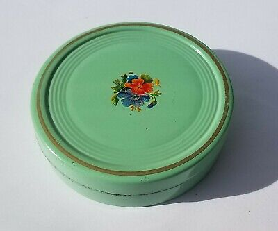 Sweet True Vintage - 1920s Metal Tin- Floral Top- Shabby Cottage Antique- Green