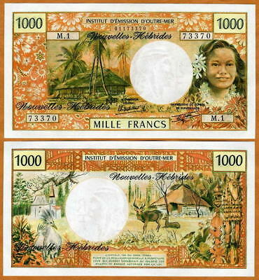 New Hebrides, 1000 Francs, P-20c, ND (1979) French Colonial, UNC