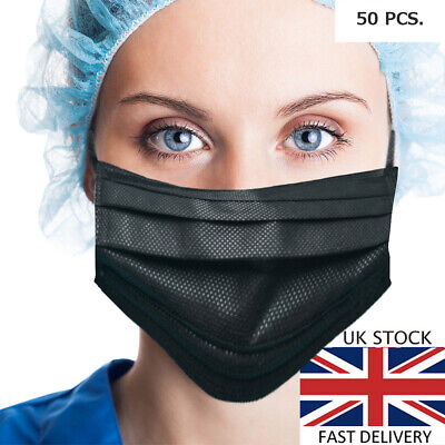 50 x Face Mask 3PLY **Black** with ear loops – Surgical/Medical/Dust Mask
