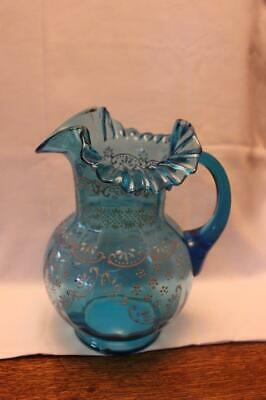 Victorian Bohemian Blue Glass Pitcher with Ruffled Edge
