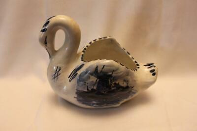 Vintage Delft Swan with Windmill Scene