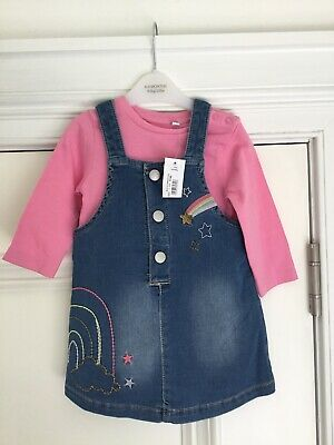 Bnwt Baby Girl Blue Zoo Soft Denim Dress &  Baby Grow Outfit Set Age 6-9 Months