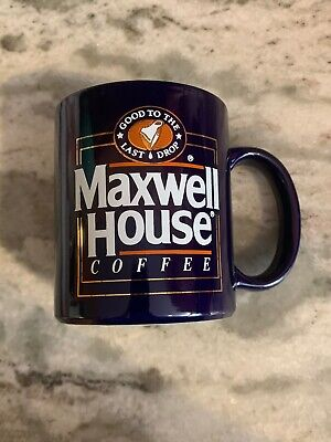 """Vintage Maxwell House Coffee Mug Cup  Blue/Gold """"Good to Last Drop"""""""