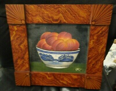Vintage Theorem Painting Still Life Fruit W/Grain Painted Frame Artist Signed