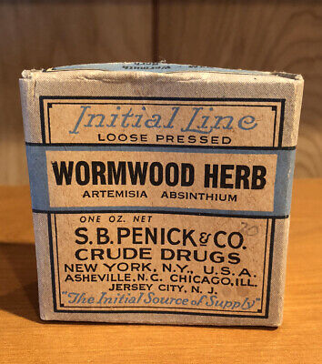 Antique WORMWOOD HERB Penick & Co. Crude Drug Box & Contents