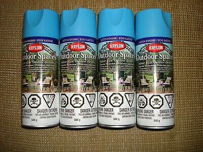 Krylon Outdoor Spaces Spray Paint Satin Finish Lot Of 4 Cans Color Ocean New