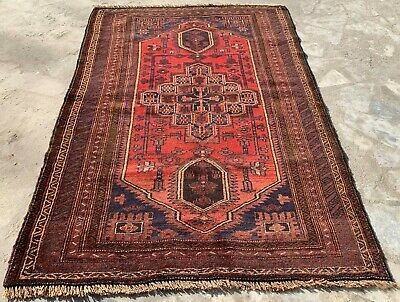 Authentic Hand Knotted Afghan Balouch Wool Area Rug 5 x 3 Ft (157 HM)