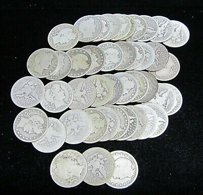 Barber Quarters  -  Roll Of 43 Coins - Mostly Different - Free Shipping!!!