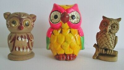 """Trio of Vintage OWL Figures Wood Porcelain  3 1/2"""" to 2 1/2"""" Tall  CUTE !"""