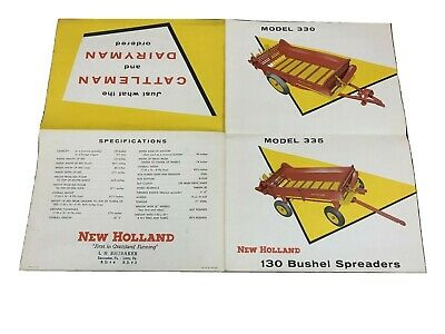 Vintage 1950s NEW HOLLAND FOLDOUT BROCHURE advertising 330 335 Spreader PA 21753