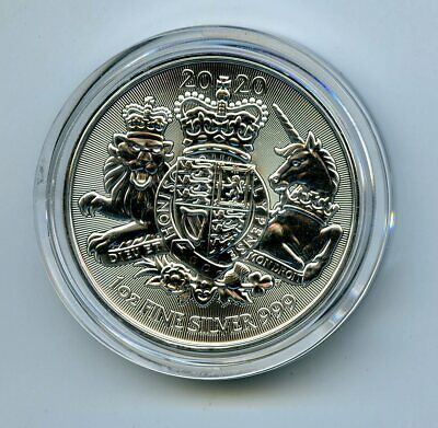 2020 2Pd Great Britain 1 Oz Silver Royal Arms - Comes In A Plastic Capsule
