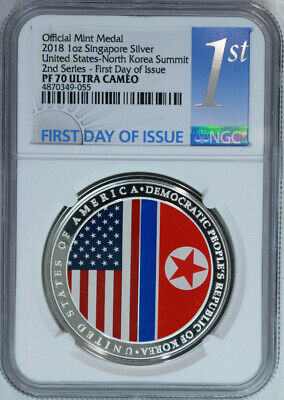 2018 Singapore US Korea Summit Official 1 oz Silver Medal NGC PF70 UC First Day