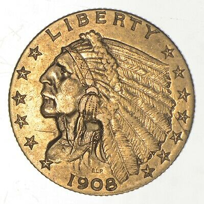 $2.50 United States 90% US Gold Coin - 1908 Indian - No Reserve *680